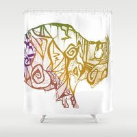 bison Shower Curtains featuring Bison. by Stefani Reeder