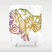 bison Shower Curtains featuring Bison. by Stefani Reeder