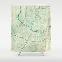 austin Shower Curtains featuring Austin Map Blue Vintage by City Art Posters