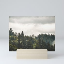 Foggy Spruce Tree Forest. || Travel Slovakia. || Mountain Scenery. || Mist in Mountains. || Beauty. Mini Art Print