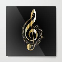 Golden G Cleff Metal Print