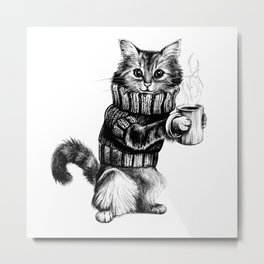 Cat in a sweater Metal Print