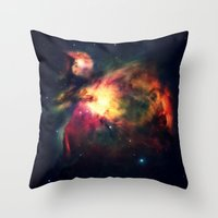 nebula Throw Pillows featuring Orion NEbula Dark & Colorful by 2sweet4words Designs