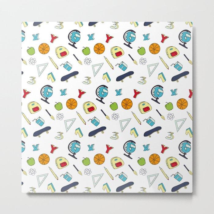 Colorful school pattern Metal Print