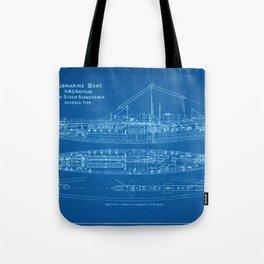 H.M.S. Nautilus Submarine - Blueprint Tote Bag