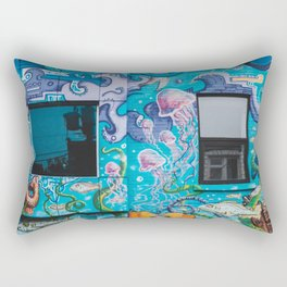 Underwater Scene Graffiti Art Rectangular Pillow