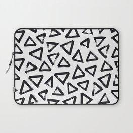 Black Brushstroke Triangel Pattern, Scandinavian Design Laptop Sleeve