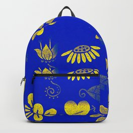 Yellow and Blue Floral Pattern Backpack