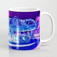 carousel Mugs featuring Carousel Merry-G0-Round Pink Purple by WhimsyRomance&Fun