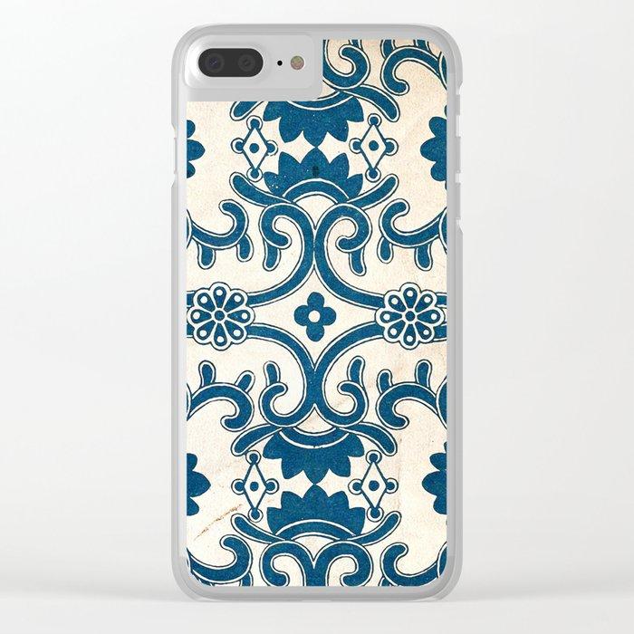Blue Oriental Vintage Tile 02 Clear iPhone Case