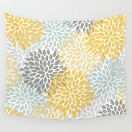 Floral Pattern, Yellow, Pale, Aqua, Blue and Gray Wall Tapestry