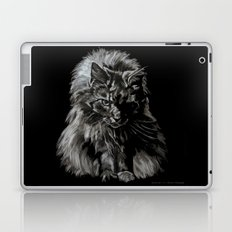 Who's for Dinner? Big Black & White Main Coon Cat Laptop & iPad Skin