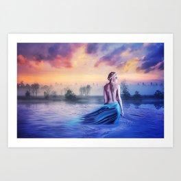 colorful morning lake Art Print
