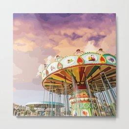 Carnival Swing Watercolor Metal Print
