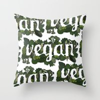 vegan Throw Pillows featuring Vegan by Kopie Creative