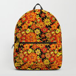 Super groovy flowers Black base orange Backpack