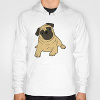 pug Hoodies featuring PUG by Elena O'Neill