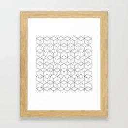 3D Cubes Line Pattern Framed Art Print
