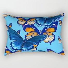 MODERN ART DECORATIVE BLUE-BROWN  BUTTERFLIES Rectangular Pillow