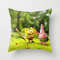 spongebob Throw Pillows featuring Spongebob & Patrick by m4Calliope