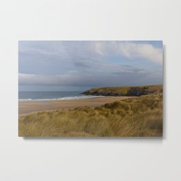 Cornish Seascape Holywell Bay Metal Print