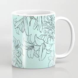lily drawing in green background Coffee Mug