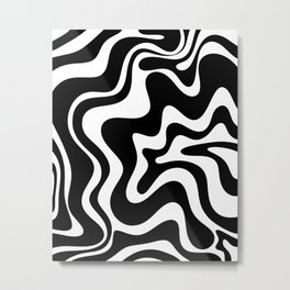 Liquid Swirl Abstract Pattern in Black and White Metal Print