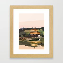 Geometric Kinkakuji, Golden Pavilion Kyoto Japan Framed Art Print