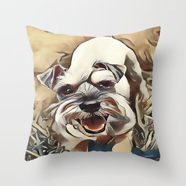 The White Miniature Schnauzer Throw Pillow