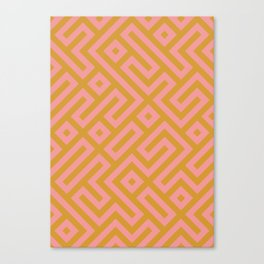 Tribal Modernist Aztec Maze Mustard Yellow and Pink Canvas Print