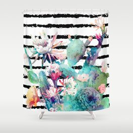 Pretty watercolor cactus floral and stripes design Shower Curtain