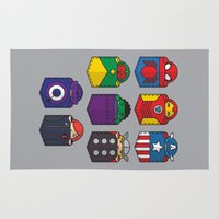 pocket Area & Throw Rugs featuring World's mightiest pocket heroes by Steven Toang