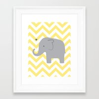 baby elephant Framed Art Prints featuring Baby Elephant by Janelle Krupa