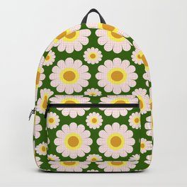Retro Summer Daisies No.1 Pink Forest Green Backpack