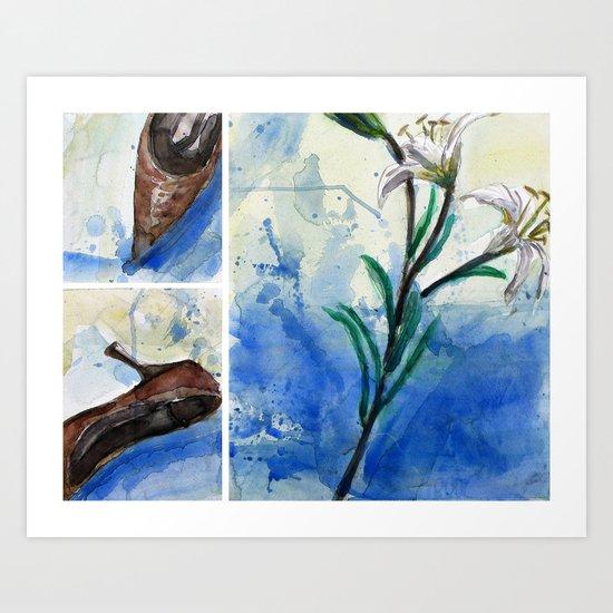 Flowers and shoe  Art Print