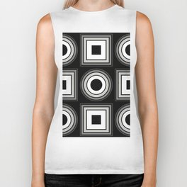 Fade To Black - Abstract, black and white, geometric, 3D effect artwork Biker Tank