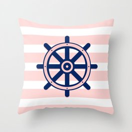 AFE Pink and Navy Helm Wheel Throw Pillow