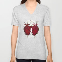 two hearts beating as one Unisex V-Neck