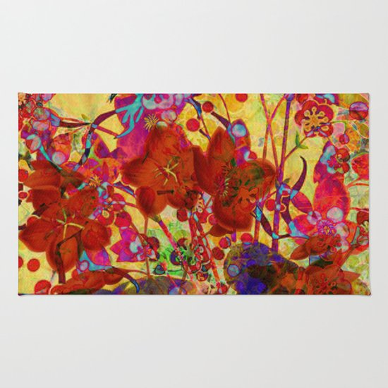 floral on yellow Rug