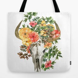 Bohemian bull skull with flowers Tote Bag
