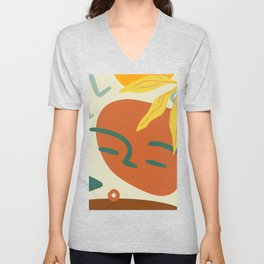 Orange Green And Yellow Portrait Abstract Face, Leaf And Star. Unisex V-Neck