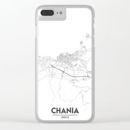 Minimal City Maps - Map Of Chania, Greece. Clear iPhone Case