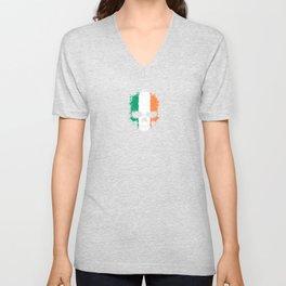 Flag of Ireland on a Chaotic Splatter Skull Unisex V-Neck