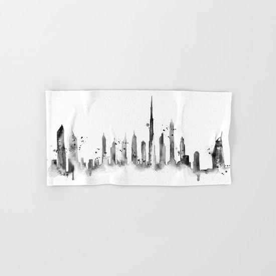 White Dubai Skyline Hand & Bath Towel