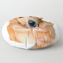 Beautiful Dog Golden Retriever and Your Bone Floor Pillow