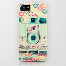 Film Mint Camera on a Colourful Retro Background  iPhone (5, 5s) Slim Case