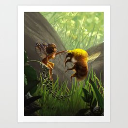 Faerie and Bee Art Print