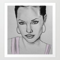 angelina jolie Art Prints featuring Angelina Jolie by CBDB