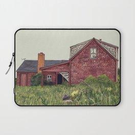 Red New England Farmhouse Illustration Laptop Sleeve