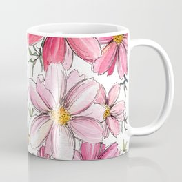 Pink Floral Pattern Coffee Mug